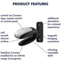 Satisfyer double fun partner vibrator - negro - Imagen 7