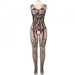 Queen lingerie bodystocking con abertura flores s-l - Imagen 5