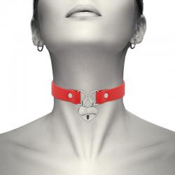 Coquette collar cuero vegano rojo accesorio corazón con llave - Imagen 1