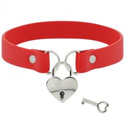 Coquette collar cuero vegano rojo accesorio corazón con llave - Imagen 2