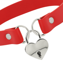 Coquette collar cuero vegano rojo accesorio corazón con llave - Imagen 3